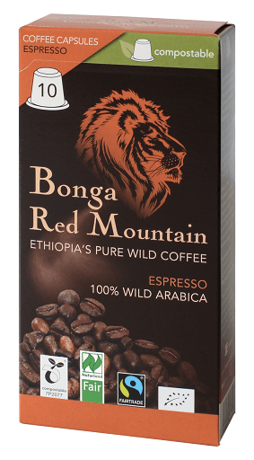 Kaffa Espresso Kapseln Bonga Red Mountain kompostierbar