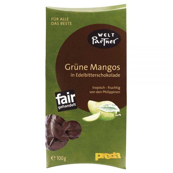 Grüne Mango in Zartbitterschokolade