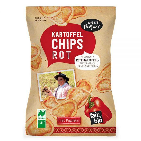 Kartoffelchips rot mit Paprika