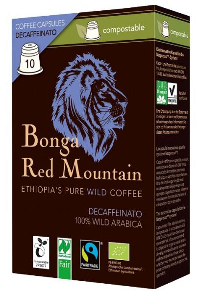Kompostierbare Kapseln Decaffeinato Bonga Red Mountain