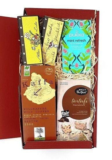 geschenkbox kaffee tee schokolade bio fair