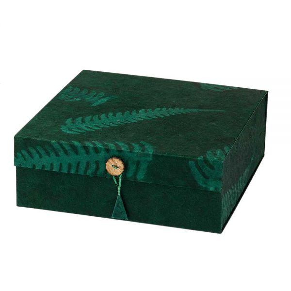 Geschenkbox grün blatt handgeschöpftes papier