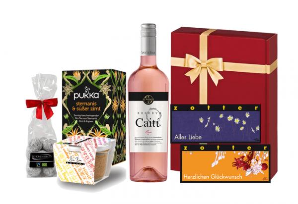 geschenkset herzlichen glückwunsch bio fairtrade produkte