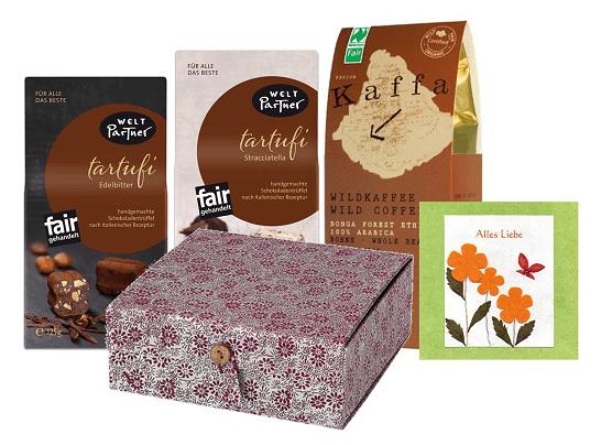 geschenkbox kaffee tartufi bio fairtrade produkte