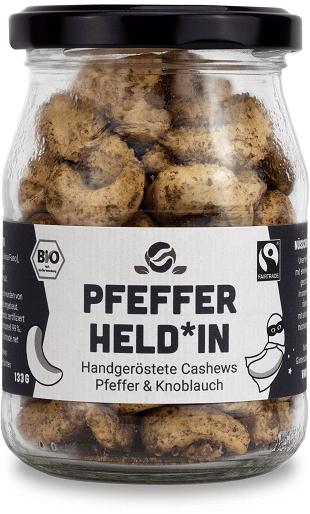 cashew knoblauch pfeffer bio fairtrade glas