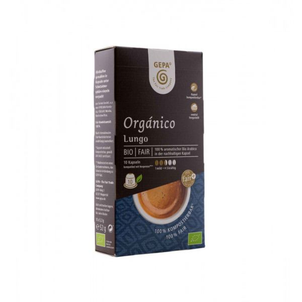 gepa kaffeekapsel bio organico lungo