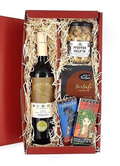 geschenkset wein schokolade nüsse bio fair